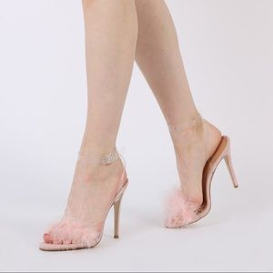 Pink marabou feather faux fur Perspex strap heels